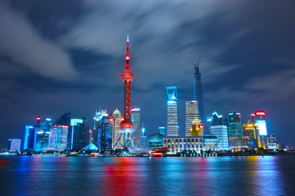 architectural photograph of lighted city sky